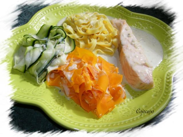 Saumon aux 3 tagliatelles a la creme de boursin les - Plat a cuisiner facile ...